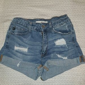 High rise/ high waist destressed denim shorts with